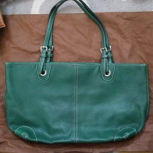 Michael Kors green leather tote bag